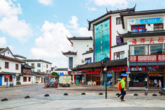 Chinese traditional architecture and street in Shanghai Zhujiajiao water town. Shanghai, China - August 8, 2016 : Chinese traditional architecture and street in Royalty Free Stock Photo