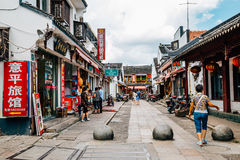 Chinese traditional architecture and street in Shanghai Zhujiajiao water town. Shanghai, China - August 8, 2016 : Chinese traditional architecture and street in Royalty Free Stock Image
