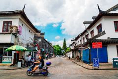 Chinese traditional architecture and street in Shanghai Zhujiajiao water town. Shanghai, China - August 8, 2016 : Chinese traditional architecture and street in Royalty Free Stock Images