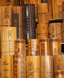 Chinese traditional bamboo slips. This is one of the main media for literacy in early China.Chinese characters were inscribed on a long, narrow strips of Stock Photo