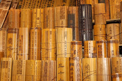 Chinese traditional bamboo slips Stock Images
