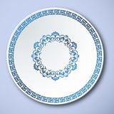 Chinese Traditional Blue And White Porcelain, The Great Wall Frame.  stock illustration
