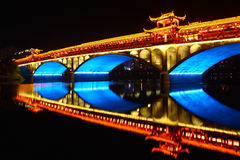 Chinese traditional bridge with light Royalty Free Stock Photo