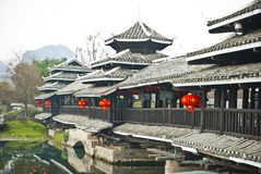 Chinese Traditional Bridge at The Shangri-La Guilin, Guilin Stock Image