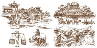 Chinese traditional bridges and architecture. Forbidden city. Chinese traditional bridges and architecture.Hand drawn set vector illustration