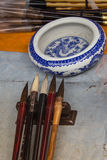 Chinese traditional brush pen and ink for calligraphy Royalty Free Stock Images