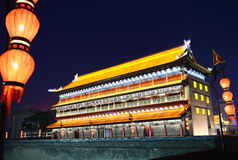 Chinese traditional building architecture with lantern Royalty Free Stock Images