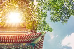 Chinese traditional building with green tree nature. China eco rich culture city concept royalty free stock photo