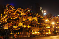 Chinese traditional building at night stock photo