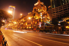 Chinese traditional building at night Stock Photos