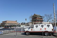 Qianmen gate tower and monument maozedong in beijing. Chinese traditional  building,  qianmen gate tower in beijing Stock Images