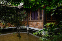 Chinese traditional building in water Royalty Free Stock Images