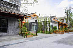 Chinese traditional buildings along street on sunny day Royalty Free Stock Photo