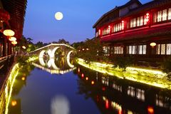Taierzhuang Ancient City night, China royalty free stock photography