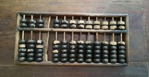 Chinese traditional calculator, old abacus on wooden table royalty free stock images