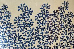 Chinese traditional ceramic flower pattern. Chinese traditional ceramic blue flower pattern painting stock photography