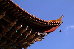 Chinese traditional construction. (the eave part royalty free stock photo