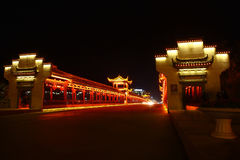 Chinese traditional corridor on the bridge Stock Image