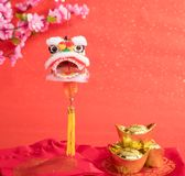Chinese traditional dancing lion Royalty Free Stock Images