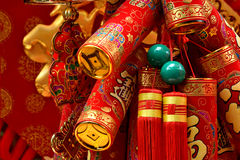 Chinese traditional decoration like firecracker. Red decoration like Chinese traditional firecracker in new year festival, shown as happy, lucky and rich wishes Stock Photo