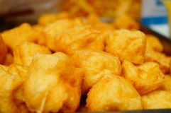 Chinese traditional delicious food: Fried Tofu. Chinese traditional delicious food fried tofu features stock photo