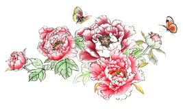 Chinese traditional distinguished gorgeous decorative hand-painted ink peony flowers. Traditional Ancient Chinese Traditional Brush Handmade Ink Painting - peony Royalty Free Stock Images