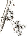 Chinese traditional distinguished gorgeous decorative hand-painted ink-pine tree Royalty Free Stock Image