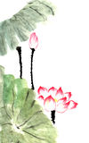 Chinese traditional distinguished gorgeous decorative hand-painted ink-water lily. Lotus Royalty Free Stock Photo