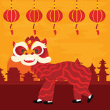 Chinese traditional dragon dance barongsai happy new lunar year celebration attraction red color Royalty Free Stock Photo