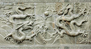 Chinese traditional dragon's relief. Dragon's relief : chinese royal totem Stock Photo