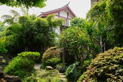 Chinese traditional dwelling building in summer woods Stock Image
