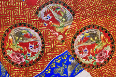 Chinese traditional embroidery. With Pattern of Phoenix and Hok stock photography