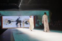 Chinese traditional fashion model show Royalty Free Stock Images