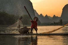 Chinese traditional fisherman with cormorants fishing, Li River royalty free stock photos