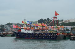 Chinese traditional flag boat Royalty Free Stock Image