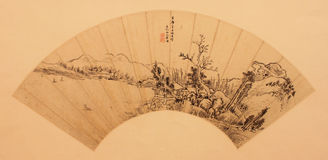 Chinese traditional folding fan. Famous painting or writing on it Royalty Free Stock Photo