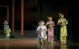 Chinese traditional folk instrumental concert. CHENGDU - JUN 17: chinese traditional folk instrumental concert performance on stage at shengge theater.Jun 17 Royalty Free Stock Photos