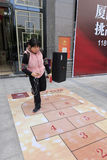Chinese traditional folk sports games hopscotch Stock Photo