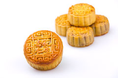 Chinese traditional food--Almond and peanuts moon cakes. On white background stock photography