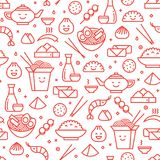 Chinese traditional food line seamless pattern Stock Images