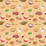 Chinese traditional food steamed dumpling asian delicious seamless pattern vector.  Royalty Free Stock Image