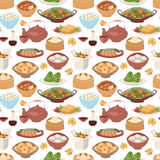 Chinese traditional food steamed dumpling asian delicious seamless pattern vector.  Stock Image