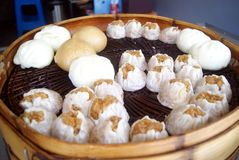 Chinese traditional food steamed stuffed bun. Chinese traditional food in the steamed stuffed bun, Baozi restaurant. The steamed stuffed bun close-up stock image