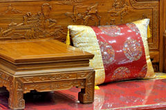 Chinese traditional furniture. Part of flowery style wooden furniture in Chinese traditional luxury style Stock Photos
