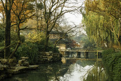 Chinese traditional garden at Suzhou in China Royalty Free Stock Photo