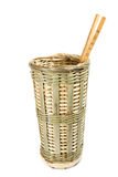Chinese traditional handmade wicker basket container chopsticks stock image