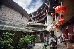 Chinese Traditional Homes Courtyard. The ancient architectures are located at Yongding Country of Fujian Province in China. Fujian Tulou is one of the 36 World stock images