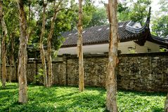 Chinese traditional house behind the forest Royalty Free Stock Photo