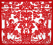 Chinese traditional kirigami. It is Chinese traditional art, kirigami. Using a red paper to cut beautiful logo stock photo