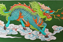 Chinese traditional kirin pattern. On wall in  chinese temple, Thailand Stock Photo